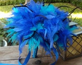 Ostrich Feather Bridal Bouquet - Large Alice in Wonderland Bouquets- Malibu & Horizon Blue Turquoise Feathers Wedding Custom Bride Colors