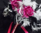"""Feather & Rose Flowers Bridesmaid or Toss Bouquet -  Fuchsia, Hot Pink roses, Black and White Wedding Bouquets 9"""""""