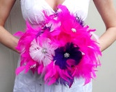 CUSTOM COLORS Feathers and Flowers BLING Crystal Bridal Bouquet  Ostrich Feather Bride Wedding Bouquets White Hot Pink Fuchsia Purple Flower