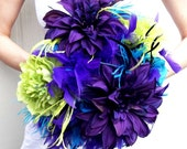 DRAMATIC Peacock Feathers & Flowers Bridal Bouquet Purple Turquosie Black Lime Green Custom WEDDING COLORS Feather Flower Bride Bouquets