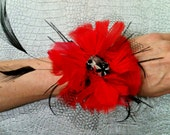 DRAMATIC Red and Black Feather Flower Wrist Corsage BLING Bracelet Crystal Custom Wedding Feathers Colors Pin Up Bird Cage Retro Corsages