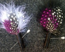 Feather Boutonnieres (Boutineer) Spotted Hot Pink Fuchsia Black and White - Crystal Accents- Custom Wedding Colors