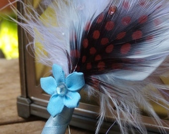 Feather Boutonnieres (Boutineers) - Crystal Flower - Light Ocean Blue & Chocolate Brown Boutonniere