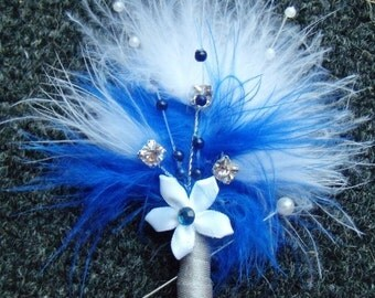 Feather Groom Boutonniere (Boutineers) - Silver Crystals & Pearls, Flower Accents - Dark Blue and White Wedding Boutonnieres