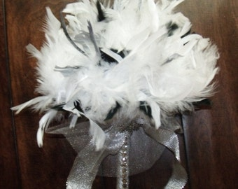 Winter Wedding Silver & White Feather Bouquet - Snowflakes and Crystal Accents - Toss or Bridesmaid Bouquets - Black Feathers - Small