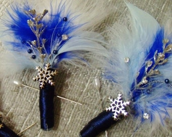 Feather Snowflake Boutonniere (Boutineers) - White & Blue Winter Wedding - Crystal Snowflakes - Silver and Black Wedding Boutonnieres