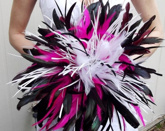 DRAMATIC Coque Feather Bridal Bouquet - Fuchsia Hot Pink Black and White or Custom Bride WEDDING COLORS - Goose Rooster Feathers Bouquets