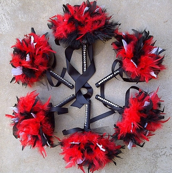 Feather Wedding Bouquet - Red Black & White or Custom Feathers Colors - Crystal Accents - Toss or Bridesmaid Bouquets Small