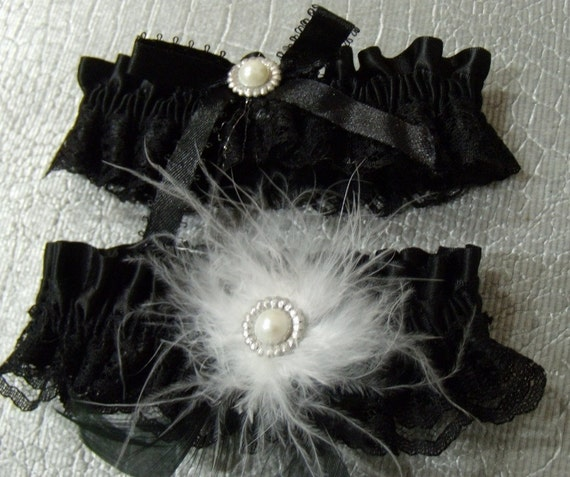 Satin & Lace Wedding Garter Set - Feather and Crystal Pearl Accents - Toss Keep Garters - Black and White Feathers Red Ivory - CUSTOM COLORS