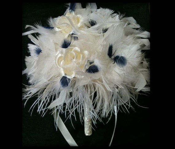 IVORY Ostrich Feather & Crystal Rose Flower Bridal Bouquet White Feathers Navy Blue Bling Large Wedding Bouquets Roses Custom Bride Colors