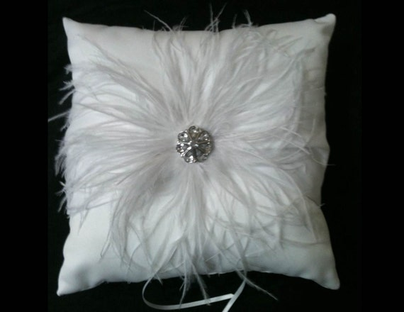 PURE WHITE Wedding Ring Pillow- BLING Ringbearer Ostrich Feather and Crystal - Vintage Ivory Custom Colors Feathers Ring Bearer Pillows