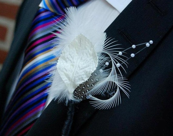 Ivory Feather Boutonnieres (Boutineers) - Cream Off White Pearl Leaf Accents - Goose Guinea Feathers Custom Wedding Colors