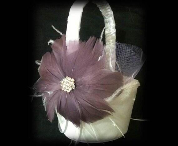 CUSTOM COLORS Flower Girl Crystal Feather Satin Wedding Basket - Ostrich Feathers Flowers Light Purple Plum Grape White Flowergirl Baskets
