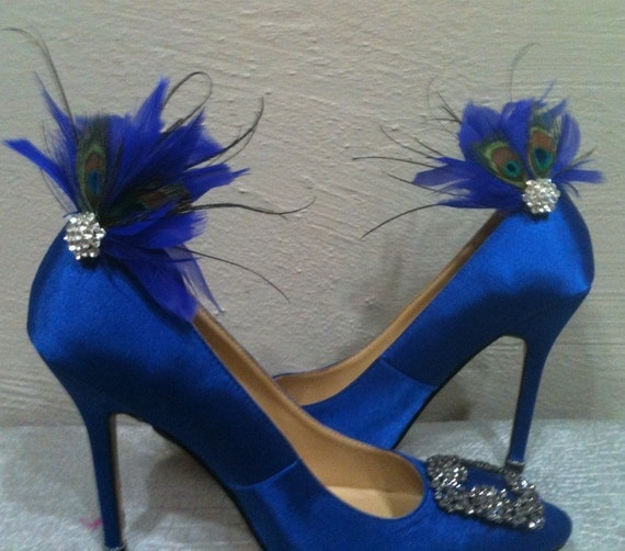 GLAM Peacock Feather Shoe Clips Set BLING Swarovski Crystal Custom Wedding Colors Bridal Feathers Vintage Shoes White Purple Something BLUE