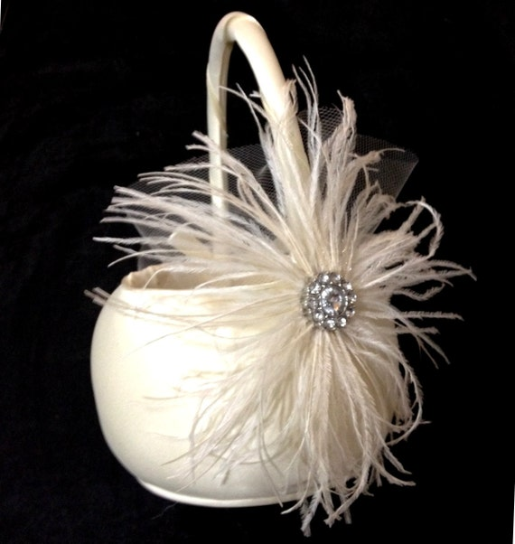 IVORY Flower Girl Ostrich Feather and Satin Wedding Basket - Large Crystal Accent - Off White Champagne Feathers - Flowergirl Baskets