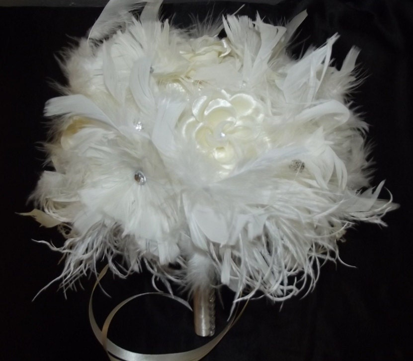 Wedding Bouquets With Feathers And Crystals : Ivory crystal feather flower bridal bouquet white ostrich