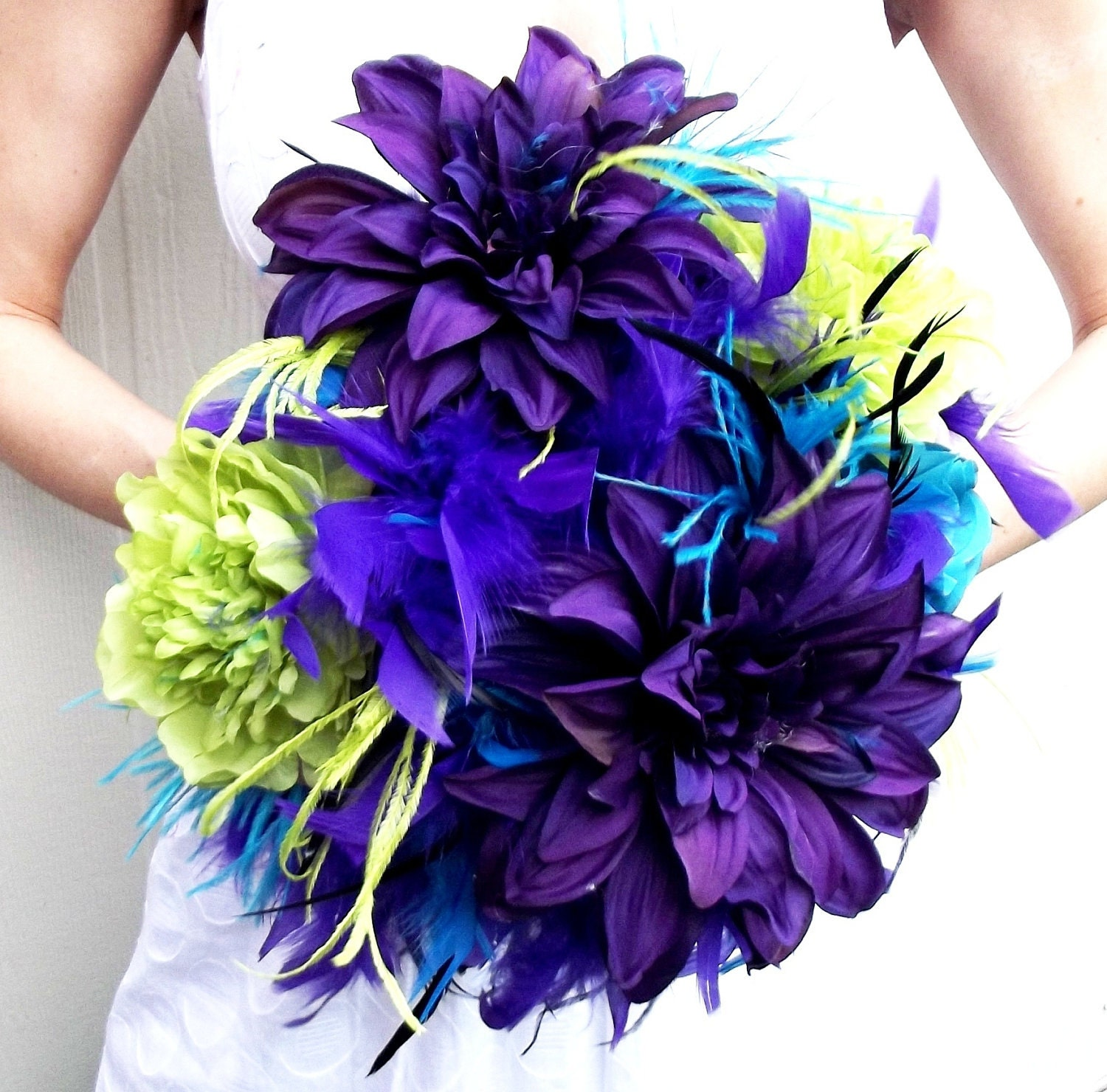 DRAMATIC Peacock Feathers & Flowers Bridal Bouquet Purple