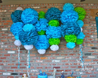 Ariel Collection-30 Pom Poms- Mermaid party decoration/ baby shower hanging decoraiton/ nursery mobile/ photography prop