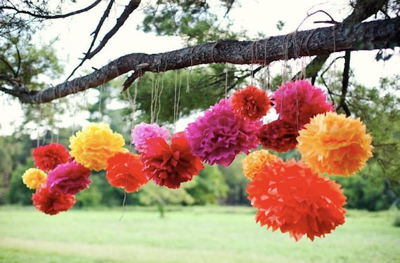 Tissue paper pom poms mexican party decorations mexican for Terrace party decoration