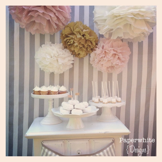 Tissue paper pompoms, baby shower decorations, farmhouse style wedding, vintage wedding, girl baby shower decorations, bridal shower, pompom