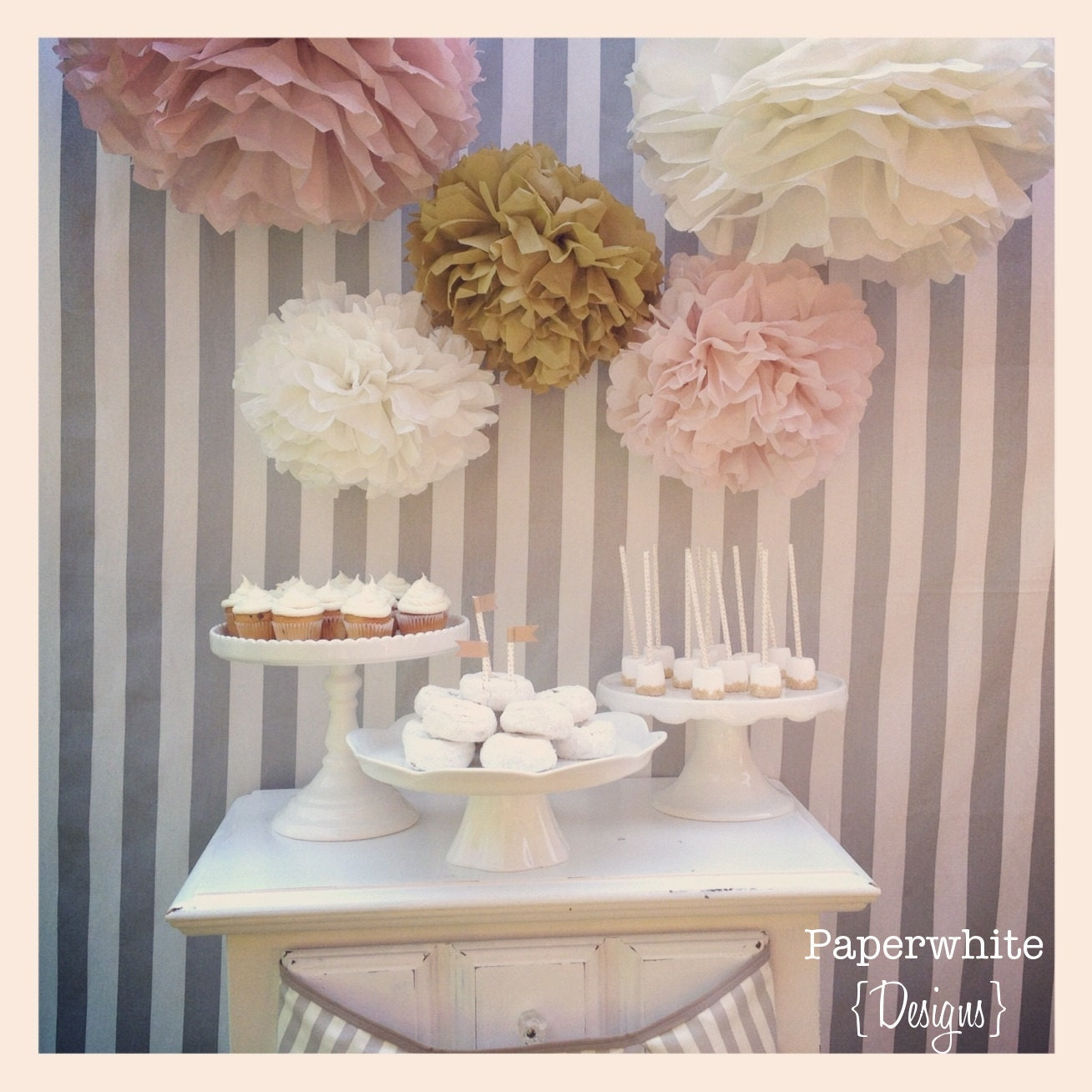 Melanie Collection 5 Pom Poms Blush And Gold Tones
