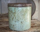 Vintage Shabby Cottage Green Storage Tin Rusty Industrial Primitive Country Farmhouse