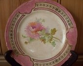 Shabby Chic Crazed Floral Plate with Pink & Gold rim Ironstone China