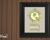Wall Art (green, orange, tan, blue with earth embellishment)  Mark 16:15 - 8 x 10 Print