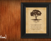 Wall Art - Roots Print (old canvas textured background with chocolate brown text) Colossians 2:7 - 8 x 10 Print
