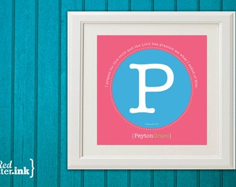 Girl Monogram Print (pink, blue and green with circle design)  I Samuel 1:27 - 8 x 8 Print