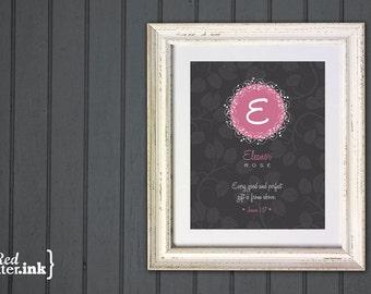 Girl Monogram Print (dark gray, pink white with circle embellishment)  James 1:17 - 8 x 10 Print