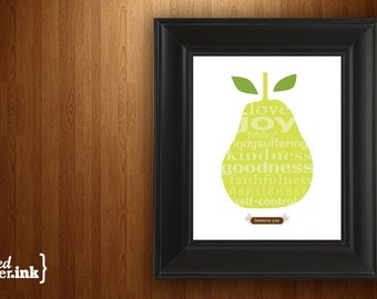 Wall Art - Fruits of the Spirit (brown and green with pear design) Galatians 5:22 - 8 x 10 Print