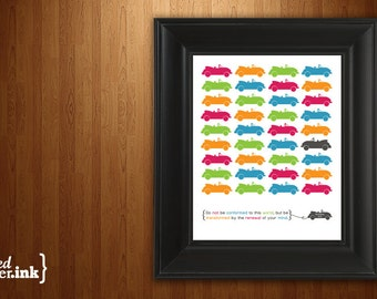Wall Art - Do Not Conform (Fuchsia, green, blue, orange, gray with car design) Romans 12:2 - 8 x 10 Print
