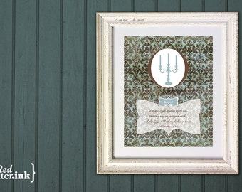 Wall Art - Shine Vintage (brown and blue with vintage wallpaper and candelabra design) Matthew 5:16 - 5 x 7 Print