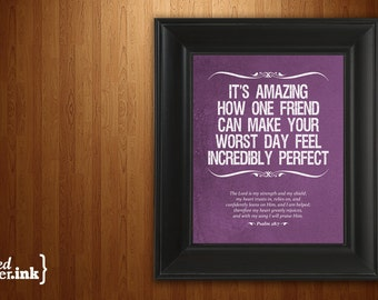 Wall Art - A True Friend Print (purple, blue, green, or rust with white text) Psalm 28:7 - 8 x 10 Print