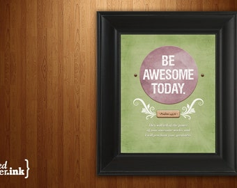 Wall Art - Be Awesome Print (purple, green, brown with white text) Psalm 145:6 - 8 x 10 Print