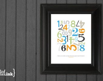 Wall Art - Number My Days Psalm 90:12 - 8 x 10 Print (5 color options)