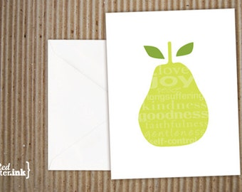 Fruits of the Spirit Pear Blank Note Cards (8 pk.) - 4.25x5.5