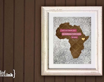 Adoption Wall Print - Africa (brown, yellow, pink/blue/green, gray)  John 14:18 - 8 x 10 Print