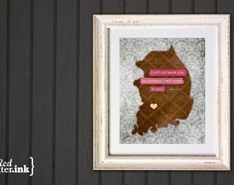 Adoption Wall Print - South Korea (brown, yellow, pink, gray)  John 14:18 - 8 x 10 Print