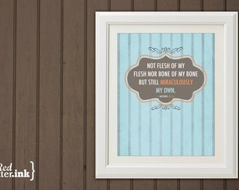 Miraculously My Own Adoption Wall Print (blue, orange, brown)  Matthew 18:5 - 8 x 10 Print