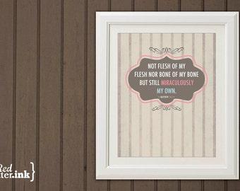 Miraculously My Own Adoption Wall Print (tan, pink, blue, brown)  Matthew 18:5 - 8 x 10 Print