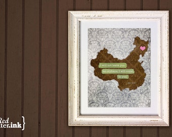 Adoption Wall Print - China (pink/blue/green, gray)  John 14:18 - 8 x 10 Print