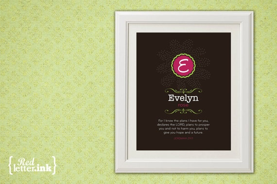 Girl Monogram Print (brown, pink and lime green with floral embellishment)  Jeremiah 29:11 - 8 x 10 Print