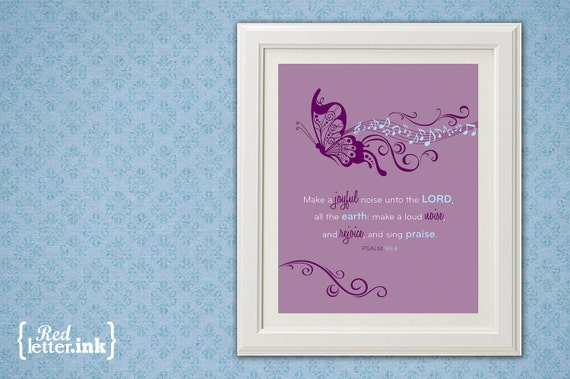 Girl Wall Print (purple, blue, white with butterfly embellishment)  Psalm 98:4 - 8 x 10 Print