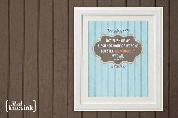 Miraculously My Own Adoption Wall Print (blue, orange, brown)  Matthew 18:5 - 8 x 10 Print