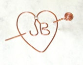 Last One - Clearance - JB Heart reminder to keep him close. JB for Justin Bieber Stick pin pendant copper