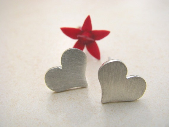 Silver heart studs, heart earrings, post earrings silver, minimalist earrings, simple, bridal jewelry, brushesd silver