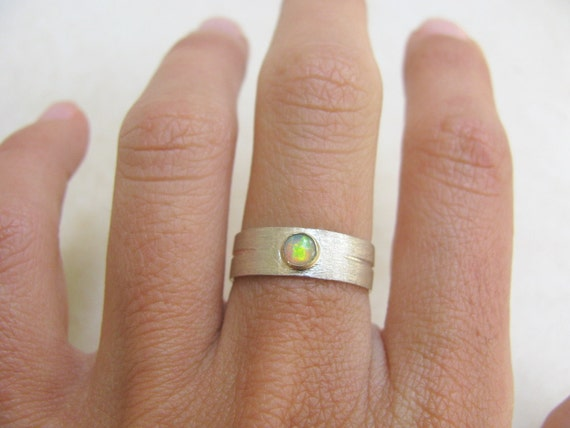 Opal Ring, sterling silver ring and 9k yellow gold, silver and gold, brushed silver, delicate ring silver, wedding ring, wedding band