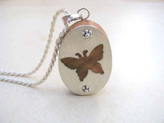 Butterfly necklace, wood necklace, silver necklace, olive wood, organic jewelry, original jewelry